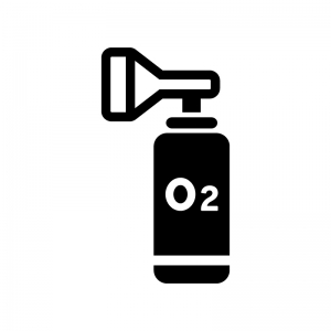 携帯酸素ボンベの白黒シルエットイラスト