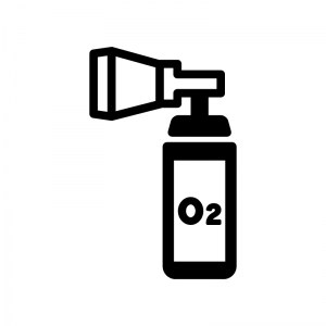 携帯酸素ボンベの白黒シルエットイラスト02