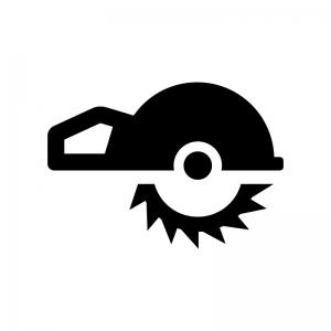 電動カッターの白黒シルエットイラスト