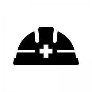 工事用ヘルメットの白黒シルエットイラスト02