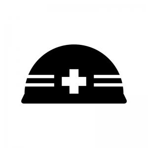 工事用ヘルメットの白黒シルエットイラスト03