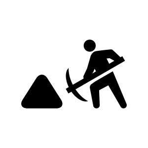 工事中・作業中の白黒シルエットイラスト02