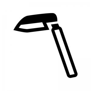 草取り鎌の白黒シルエットイラスト