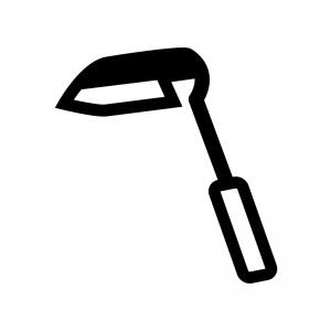 草取り鎌の白黒シルエットイラスト02