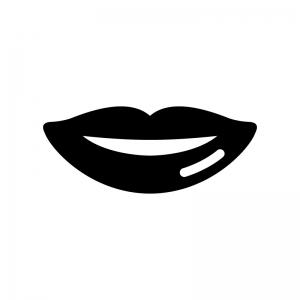 唇の白黒シルエットイラスト