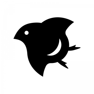 千鳥マークの白黒シルエットイラスト