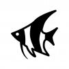 熱帯魚・エンゼルフィッシュの白黒シルエットイラスト
