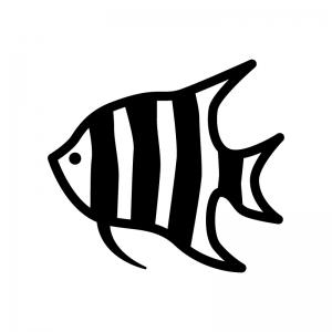 熱帯魚・エンゼルフィッシュの白黒シルエットイラスト02