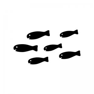 かわいい魚・熱帯魚の白黒シルエットイラスト02