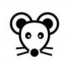 ネズミの白黒シルエットイラスト