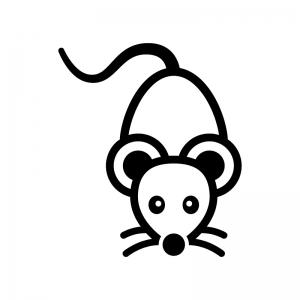 ネズミの白黒シルエットイラスト02