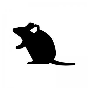 ネズミのシルエット03 無料のaipng白黒シルエットイラスト