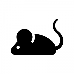 ネズミの白黒シルエットイラスト04
