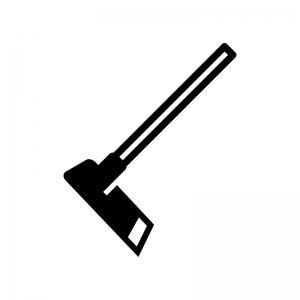鍬(くわ)の白黒シルエットイラスト