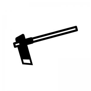 鍬(くわ)の白黒シルエットイラスト02