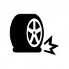 パンクしたタイヤの白黒シルエットイラスト