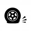 パンクしたタイヤの白黒シルエットイラスト02