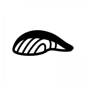 鮭・魚の切り身の白黒シルエットイラスト