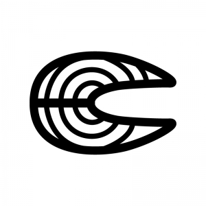 鮭・魚の切り身の白黒シルエットイラスト02