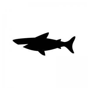 サメの白黒シルエットイラスト