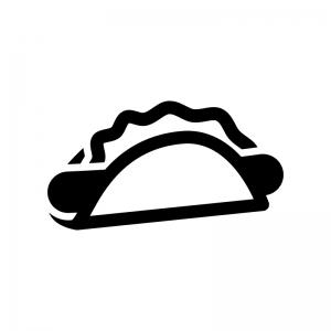 ホットドッグの白黒シルエットイラスト03