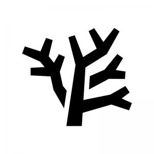 珊瑚の白黒シルエットイラスト