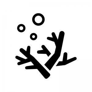 珊瑚の白黒シルエットイラスト02