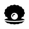 真珠貝・パールの指輪の白黒シルエットイラスト