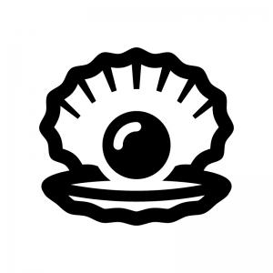 真珠貝・パールの指輪の白黒シルエットイラスト02