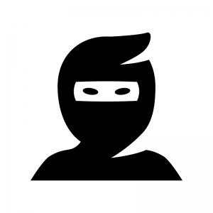 忍者の白黒シルエットイラスト