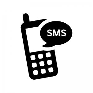 携帯のSMSの白黒シルエットイラスト