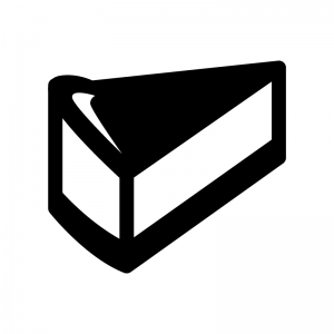 チーズケーキの白黒シルエットイラスト02