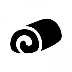 ロールケーキの白黒シルエットイラスト04