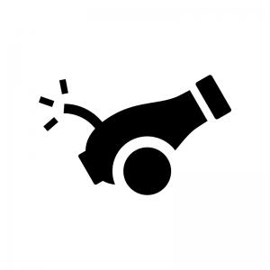 大砲の白黒シルエットイラスト