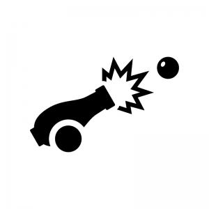 大砲の白黒シルエットイラスト02