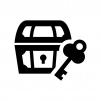 宝箱と鍵の白黒シルエットイラスト