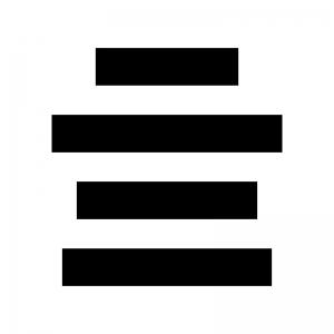 文字の中央揃えの白黒シルエットイラスト