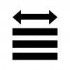 文字の両端揃えの白黒シルエットイラスト