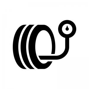 タイヤの空気圧の白黒シルエットイラスト