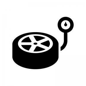 タイヤの空気圧の白黒シルエットイラスト02