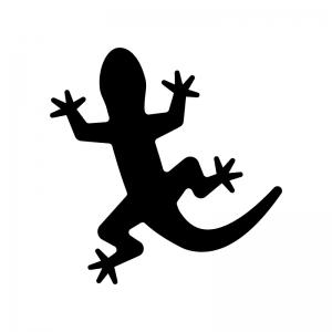 トカゲの白黒シルエットイラスト02