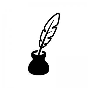 羽ペンの白黒シルエットイラスト02