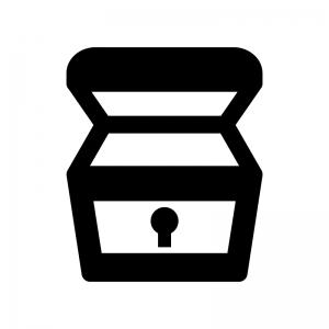 蓋が開いた宝箱の白黒シルエットイラスト