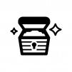宝石類が入った宝箱の白黒シルエットイラスト