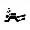 スキューバダイビングの白黒シルエットイラスト