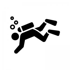 スキューバダイビングの白黒シルエットイラスト02