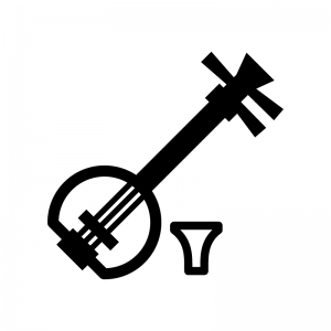 三味線の白黒シルエットイラスト02