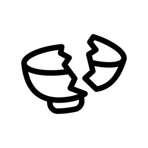 割れた茶碗(ゴミ)の白黒シルエットイラスト