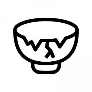 割れた茶碗(ゴミ)の白黒シルエットイラスト02