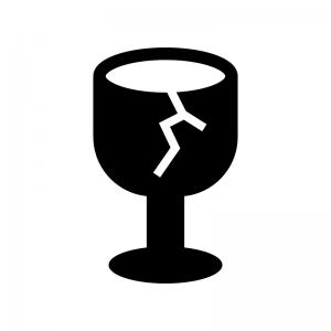 割れたワイングラス(ゴミ)の白黒シルエットイラスト